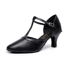 Women's Real Leather Heels Ballroom With T-Strap Buckle Dance Shoes