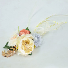 Girly Hand-tied Satin/Metal/Silk Flower Wrist Corsage - Wrist Corsage