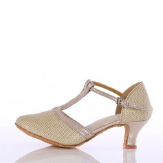Women's Leatherette Sparkling Glitter Heels Ballroom With T-Strap Dance Shoes