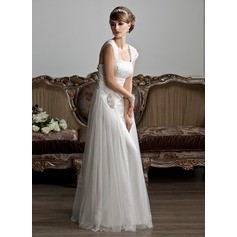 A-Line/Princess Square Neckline Floor-Length Tulle Wedding Dress With Ruffle Beading