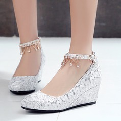 Women's Lace Wedge Heel Closed Toe Wedges With Buckle