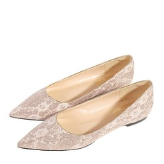 Women's Microfiber Leather Flat Heel Closed Toe Flats With Stitching Lace