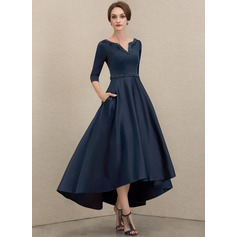 V-neck Asymmetrical Satin Mother of the Bride Dress With Beading Sequins Pockets (267227673)