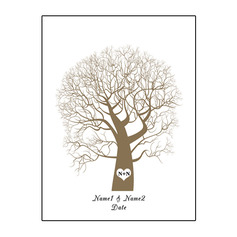 Thumbprint Tree Canvas Fingerprint Guestbook With Ink Pad