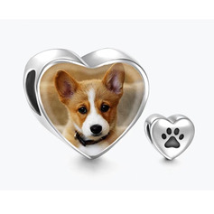 Custom Heart Photo Charms With Dog Paw Footprint -