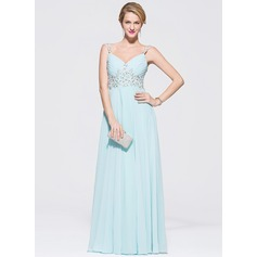 A-Line/Princess Sweetheart Floor-Length Chiffon Tulle Prom Dress With Beading Appliques Lace Sequins
