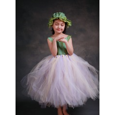 A-Line/Princess Ankle-length Flower Girl Dress - Satin/Tulle Sleeveless Square Neckline With Bow(s)
