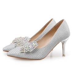 Women's Sparkling Glitter Stiletto Heel Pumps With Bowknot shoes