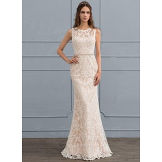 Sheath/Column Scoop Neck Floor-Length Lace Wedding Dress With Beading