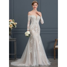 Trumpet/Mermaid Off-the-Shoulder Court Train Tulle Wedding Dress With Beading Sequins