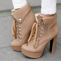 Women's Leatherette Chunky Heel Pumps With Lace-up Button shoes