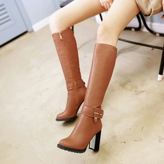 Women's Leatherette Chunky Heel Boots Knee High Boots With Rivet Buckle Zipper shoes (088125612)