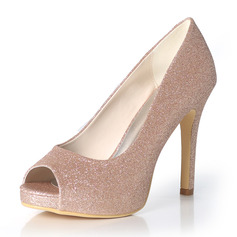 Women's Sparkling Glitter Stiletto Heel Peep Toe Platform Pumps
