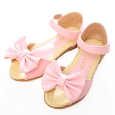 Girl's Peep Toe Leatherette Flat Heel Flower Girl Shoes With Bowknot Velcro