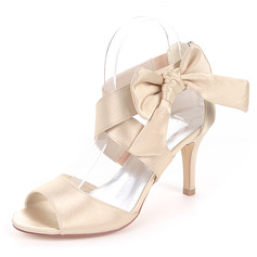 Women's Silk Like Satin Stiletto Heel Pumps Sandals With Bowknot (273202705)