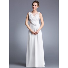 A-Line/Princess Scoop Neck Floor-Length Chiffon Holiday Dress With Ruffle Appliques Lace Split Front (020041154)