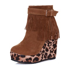 Women's Suede Wedge Heel Boots With Buckle shoes