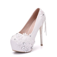 Women's Leatherette Stiletto Heel Closed Toe Platform Pumps With Rhinestone Applique Chain