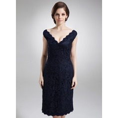 Sheath/Column Off-the-Shoulder Knee-Length Lace Mother of the Bride Dress