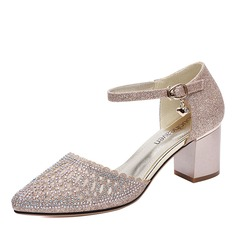 Women's Leatherette Mesh Low Heel Closed Toe With Crystal