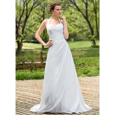 A-Line/Princess Halter Court Train Taffeta Wedding Dress With Ruffle