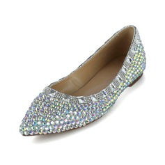 Patent Leather Flat Heel Closed Toe With Rhinestone shoes