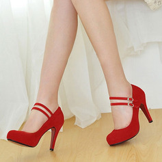 Women's Suede Pumps Platform Closed Toe With Buckle shoes (085154468)