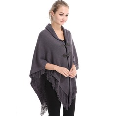 Solid Color/Tassel Oversized/Cold weather Artificial Wool Poncho (204173466)
