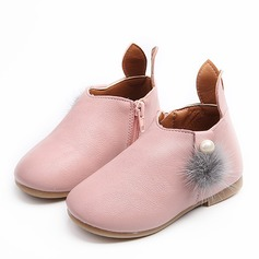 Girl's Round Toe Closed Toe Ankle Boots Leatherette Flat Heel Flats Boots Flower Girl Shoes With Zipper