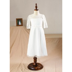 A-Line/Princess Flower Girl Dress - Tulle/Lace 1/2 Sleeves Scoop Neck