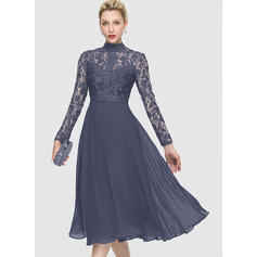 A-Line High Neck Tea-Length Chiffon Cocktail Dress