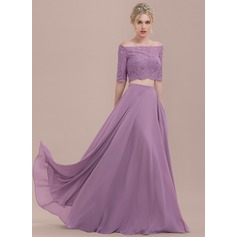 A-Linie/Princess-Linie Off-the-Schulter Bodenlang Chiffon Spitze Brautjungfernkleid
