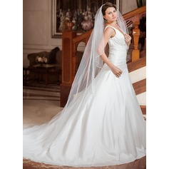 One-tier Cathedral Bridal Veils With Beaded Edge