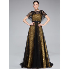 A-Line/Princess Scoop Neck Sweep Train Tulle Sequined Evening Dress With Ruffle Beading
