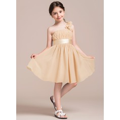 A-Line/Princess Knee-length Flower Girl Dress - Chiffon/Satin Sleeveless One-Shoulder With Ruffles/Flower(s)/Bow(s)