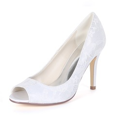 Women's Silk Like Satin Stiletto Heel Peep Toe Pumps With Others