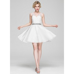 A-Line/Princess V-neck Knee-Length Satin Lace Cocktail Dress With Beading Sequins