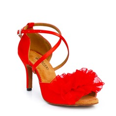 Satin Heels Sandals Latin With Buckle Hollow-out Flower Dance Shoes