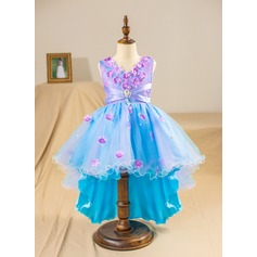 Ball Gown Asymmetrical Flower Girl Dress - Tulle/Lace Sleeveless V-neck With Beading/Flower(s)/Bow(s)/Rhinestone