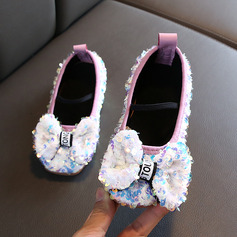 Girl's Round Toe Sparkling Glitter Flats With Bowknot Sequin