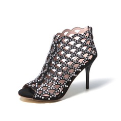 Stiletto Heel Sandals Pumps Boots With Rhinestone Hollow-out shoes