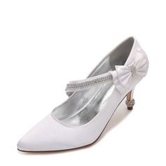 Women's Silk Like Satin Stiletto Heel Closed Toe Pumps With Bowknot Buckle Chain
