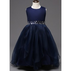 Ball Gown Floor-length Flower Girl Dress - Cotton Blends Sleeveless Scoop Neck With Bow(s)/Rhinestone