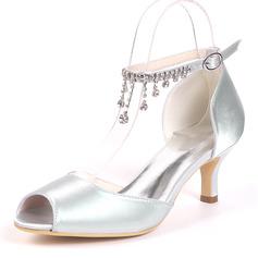 Women's Silk Like Satin Stiletto Heel Pumps With Rhinestone