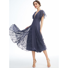 A-Line V-neck Knee-Length Cocktail Dress With Ruffle