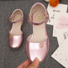 Girl's Closed Toe Microfiber Leather Low Heel Flats Flower Girl Shoes