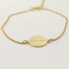 Personalized Ladies' Exquisite Gold Plated With Round Engraved Bracelets For Bridesmaid/For Mother/For Friends