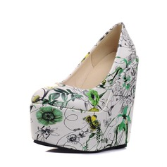 Women's PU Wedge Heel Pumps Platform Closed Toe Wedges With Satin Flower shoes