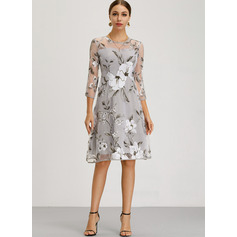 Polyester/Organza With Print Knee Length Dress (199206834)
