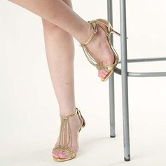 Women's Sparkling Glitter Stiletto Heel Sandals Peep Toe With Sparkling Glitter Lace-up Tassel shoes (087113615)